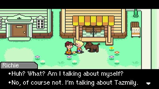 Mother 3's hero, Lucas, talks to a villager from Tazmily.