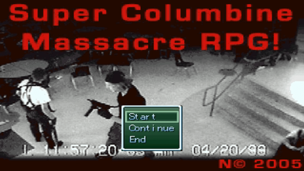 The title screen of the infamous Columbine RPG