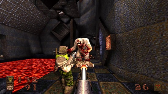 Image showing the Shambler attacking a Ranger beside a pool of lava