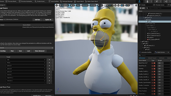 Homer model being edited for lip-sync