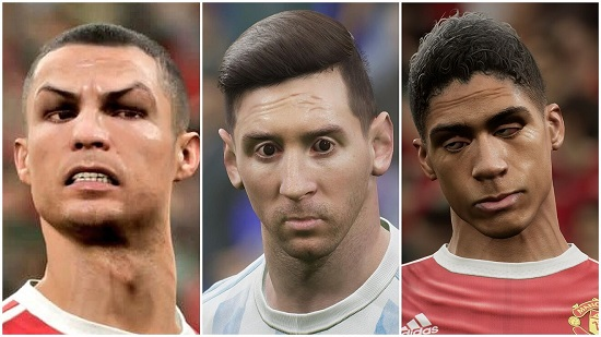 Ronaldo, Messi and Rashford, looking like they're lining up for a new horror game