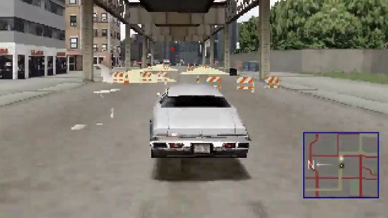 A screenshot of Tanner driving in a PS1-rendered Chicago.