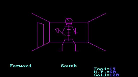 A screenshot from Akalabeth, as the player faces a monster in the wireframe dungeon