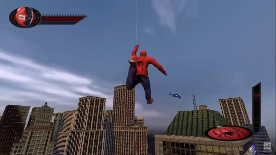 Spider-Man swinging some web in the 2002 Spider-Man game.