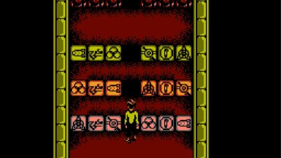 A puzzle room in the NES Star Trek game, featuring some