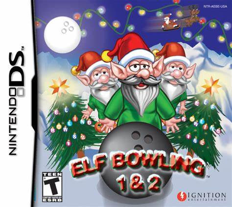 The box cover for Elf Bowling on the DS, which might have taken more effort than the game itself