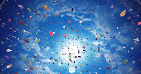 A sky background with the sun shinning in the middle causing glaze, with lots of debris and other items floating around in the sky