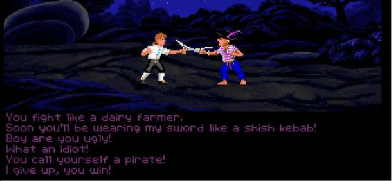 Guybrush Threepwood facing a pirate with a choice of insults