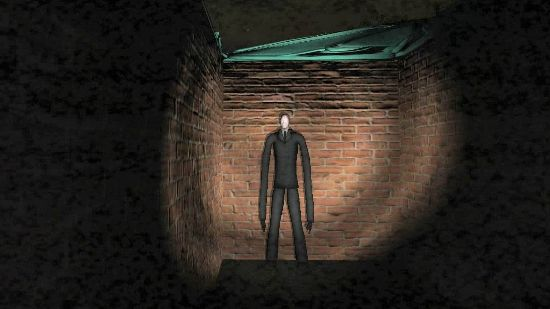 The fabled Slenderman, staring you down in an abandoned building with a static filter