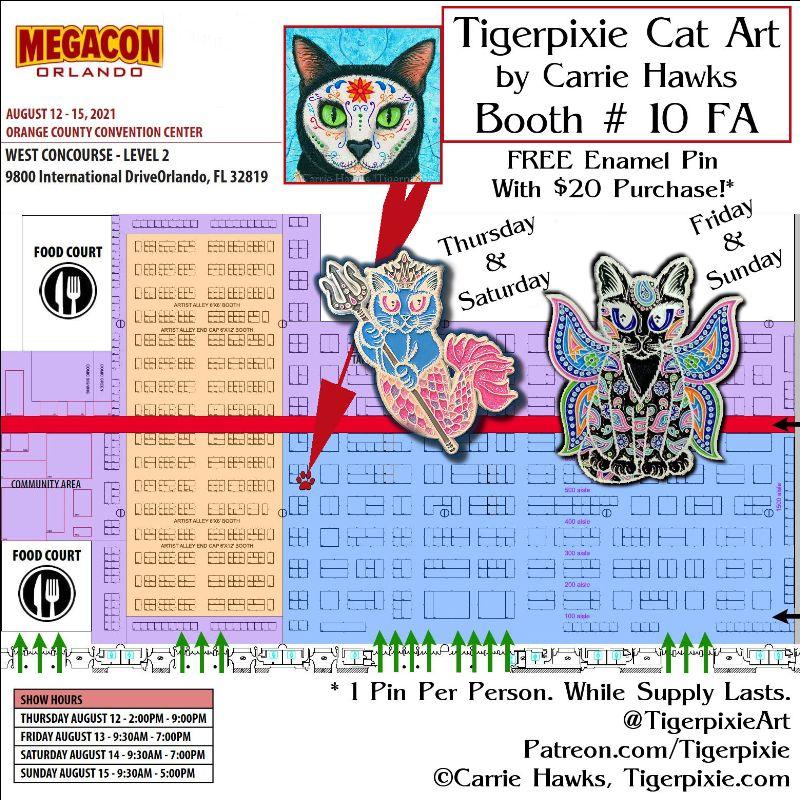 Tigerpixie Cat Art MegaCon Booth # 10FA
