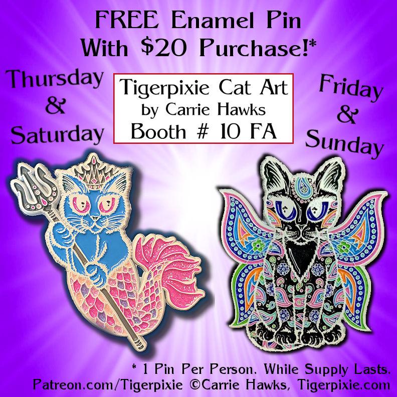 MegaCon 2021 Tigerpixie Cat Art Pins Booth # 10 FA