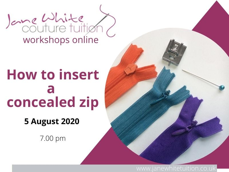 How to insert a concealed zip workshop 5 August 2020