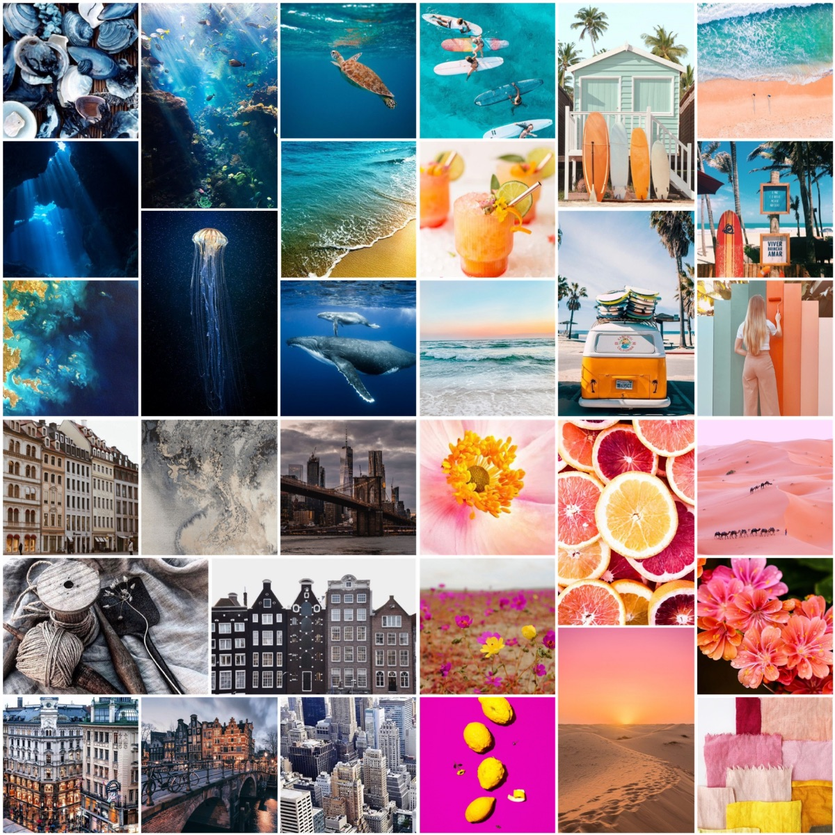 mood boards of the chosen color themes from blues to pinks to greys