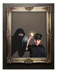 robber and cop looking through a gold frame