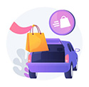 illustration of package being put into car trunk