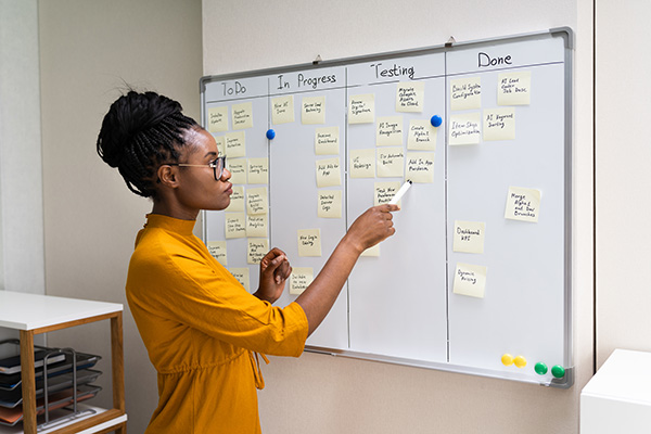 woman planning on white board