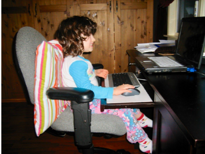 Young girl at desk