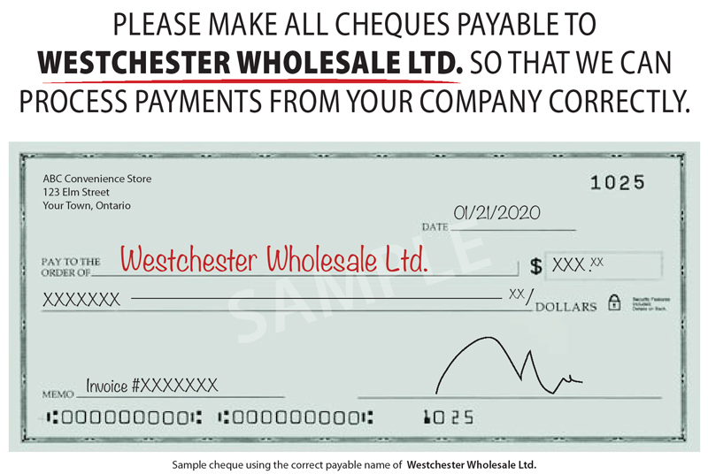 Westchester Wholesale Ltd. Cheque Image