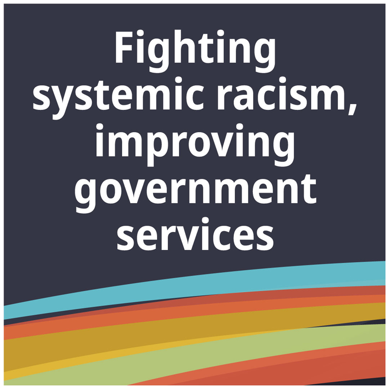 Text: Fighting systemic racism, improving government services