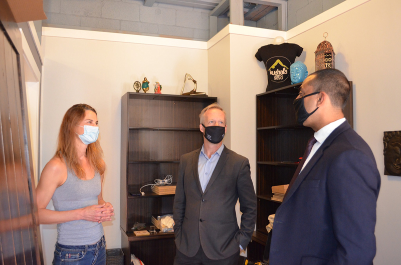 MLA Glumac and Minister Kahlon speak with the owner of  Kushala Yoga at their new studio about how they've adapted during the pandemic.