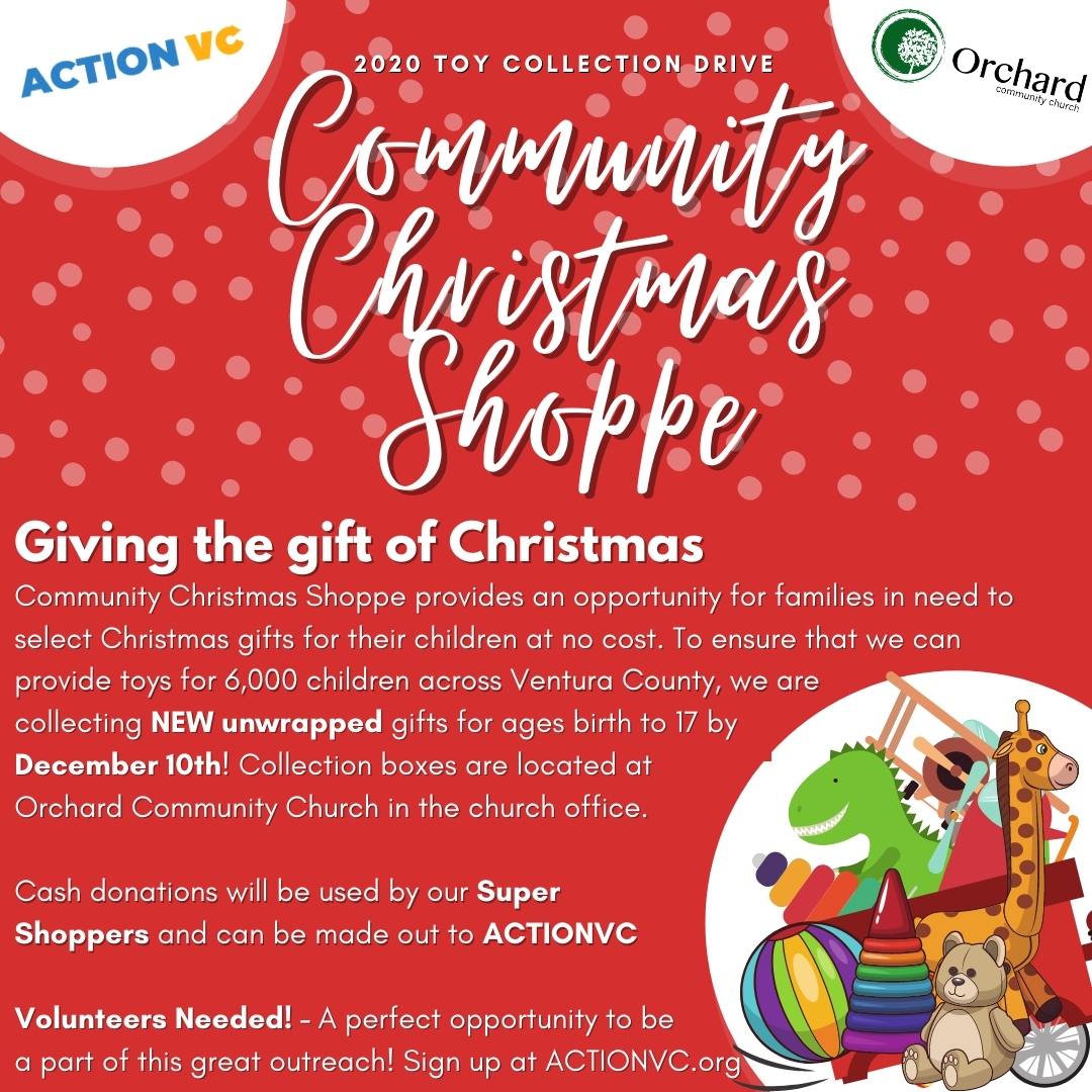 Community Christmas Shoppe Toy Drive now through December 10th.