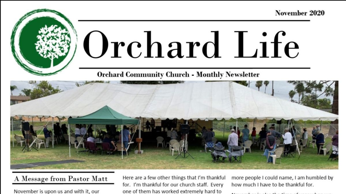 November 2020 Orchard Life Newsletter