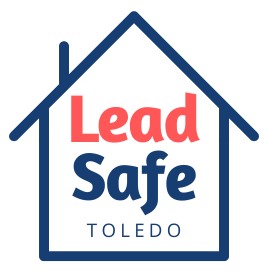 Outline of blue house with Lead Safe Toledo written inside
