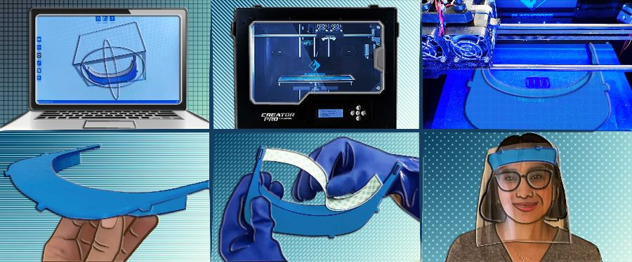 A six-step illustration of how Madiha Choksi 3D prints face shields.