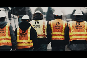 The back of 5 de denver Water crew men
