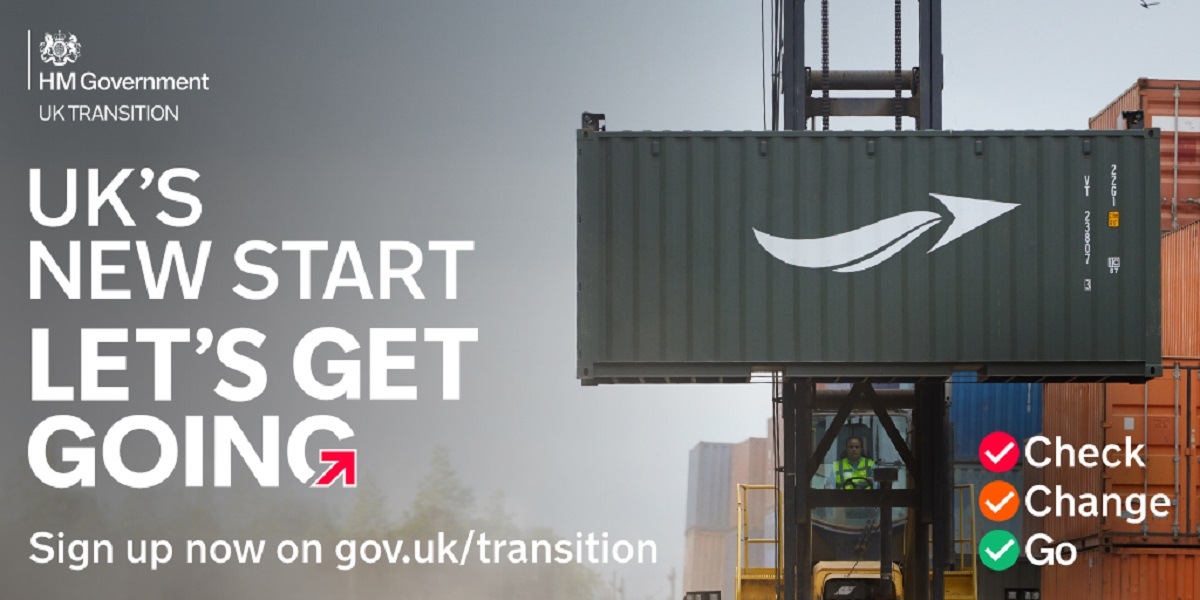 Image showing the words 'UK's new start - let's get going' and traffic light icons for check, change and go
