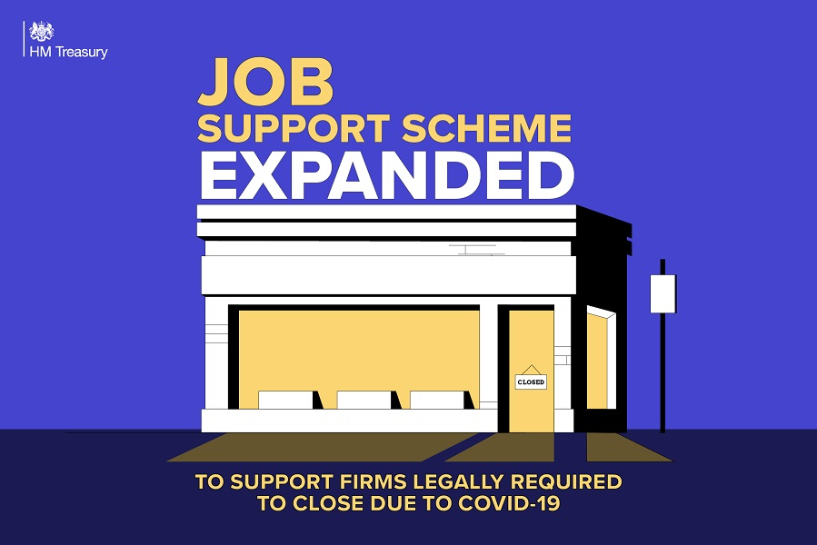 HM treasury image stating that the job support scheme has been expanded, with an image of a building displaying a closed sign
