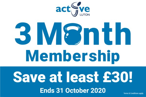 Active Luton 3 month membership. Save at least £30. Ends 31 October 2020