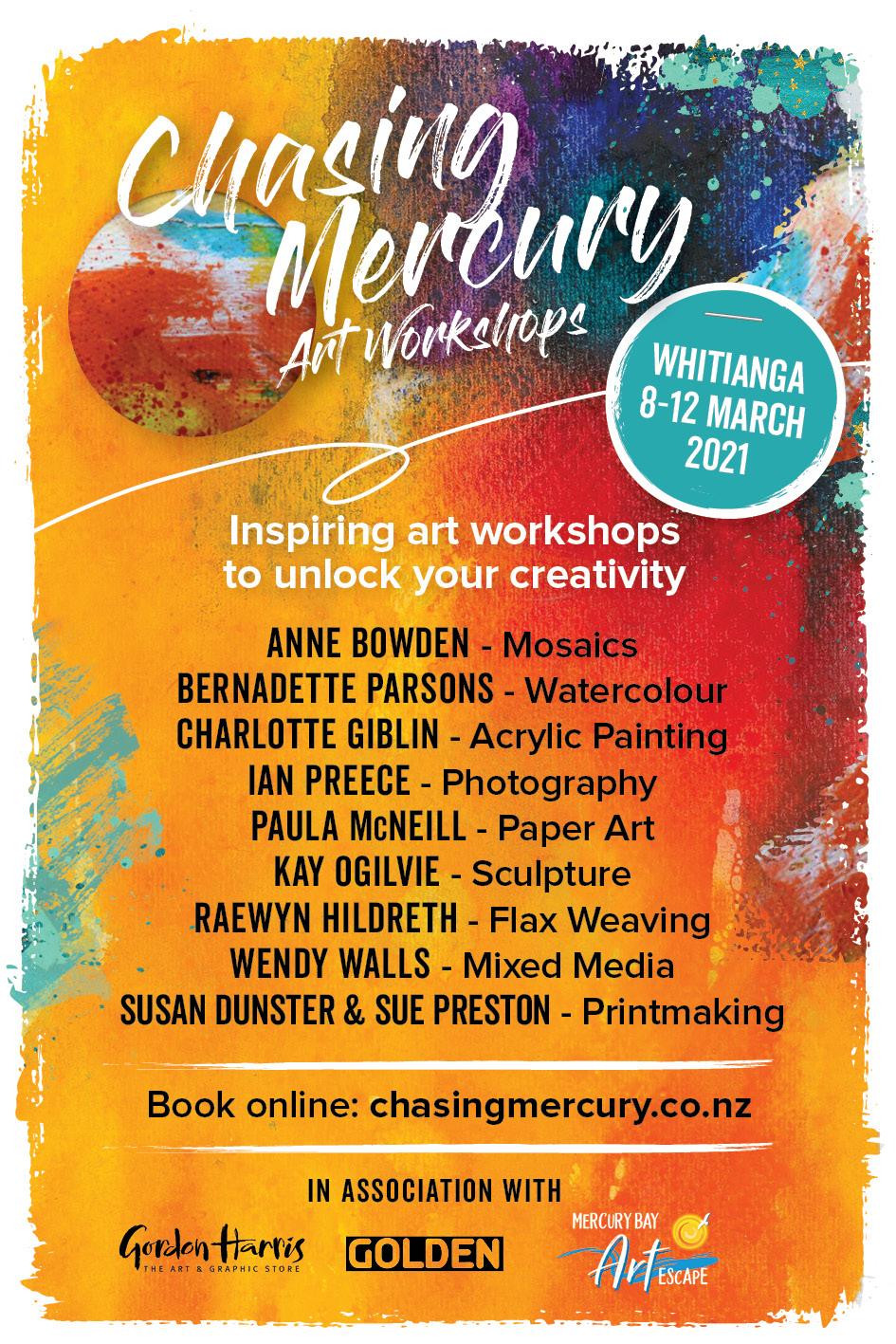 Chasing Mercury Art Workshops Flyer