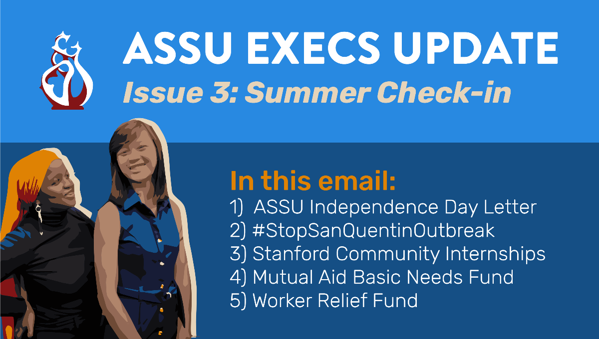 """Illustration of ASSU Executives Munira and Vianna with the ASSU logo and title text """"ASSU Execs Update, Issue 3: Summer Check-in."""" Below describes what's in this email, which includes 1) ASSU Independence Day Letter, 2) #StopSanQuentinOutbreak, 3) Stanford Community Internships, 4) Mutual Aid Basic Needs Fund, and 5) Worker Relief Fund"""" on a blue background."""