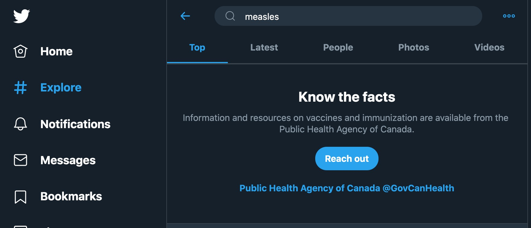 A screenshot of a twitter search for measles returns a note directing viewers to trustworthy resources, such as government agency websites