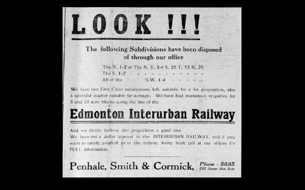 An ad showing how real estate firms were throwing their support behind a rail line connecting Edmonton to St. Albert in 1912.