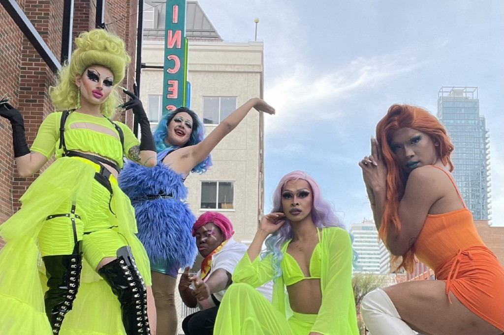 Vincent Brulotte (second from left) often works alongside other local drag talent, including artists (from left to right) Gemma Nye, Shay Nanigans, Artasia, and Jizz Elle. (Party Queens/Instagram)
