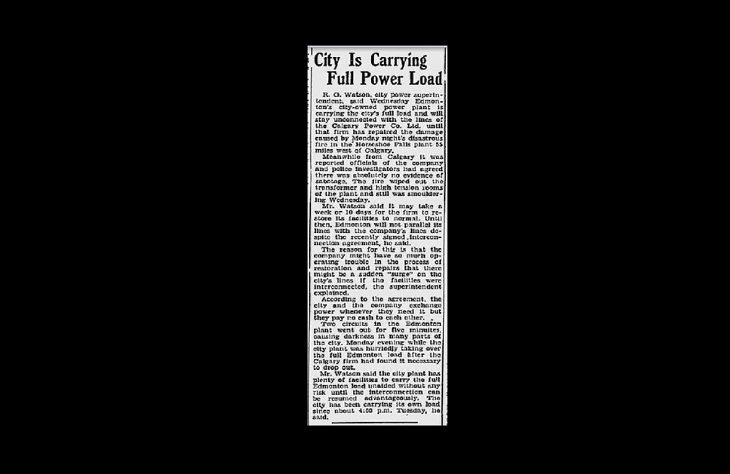 A clipping from 1940, depicting how the city's lone power plant was working hard to kick into high gear after being cut off from Calgary.