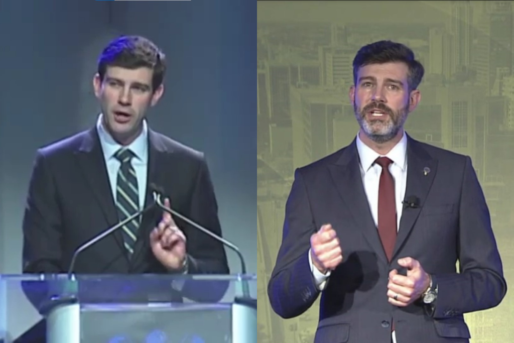 Mayor Don Iveson delivers his State of the City address in 2014 and 2021.