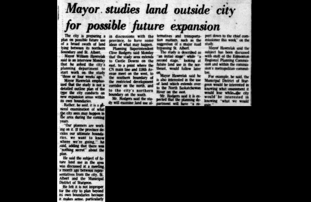 Image of a clipping from August 26, 1975 about Edmonton eyeing the land to its northwest for possible future expansion.