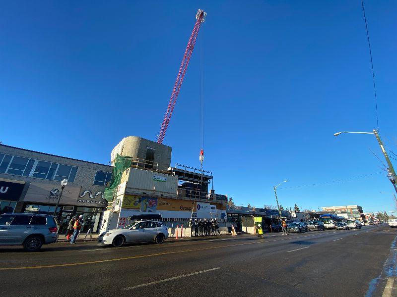 "The ""Godzilla"" crane hovers over the new Roxy Theatre on 124 Street. (Theatre Network)"