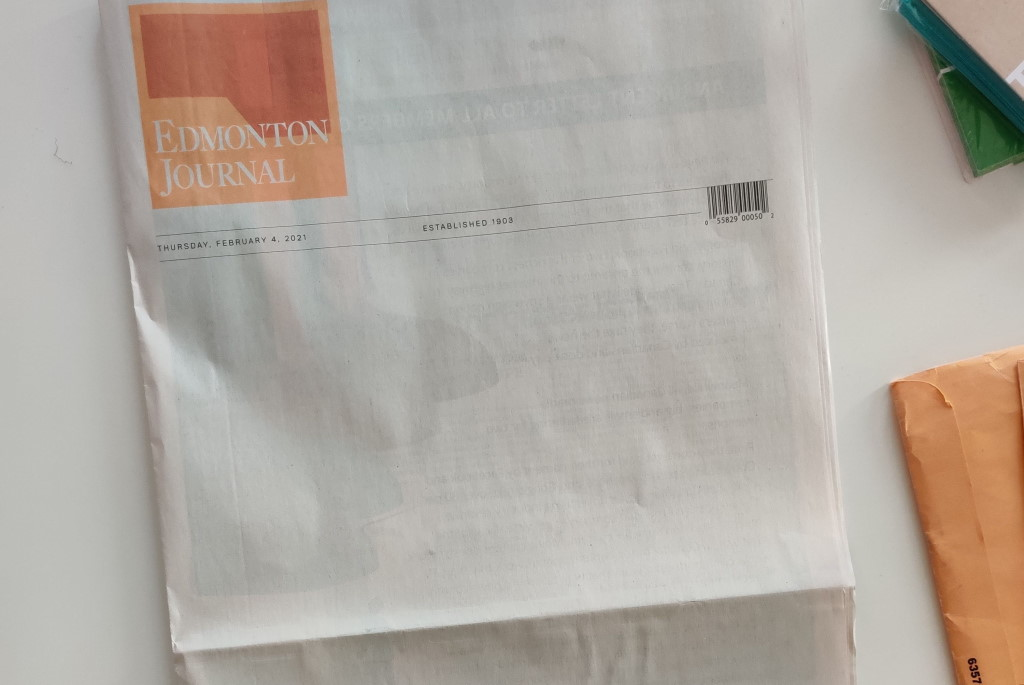 Blank page greets Edmonton newspaper readers