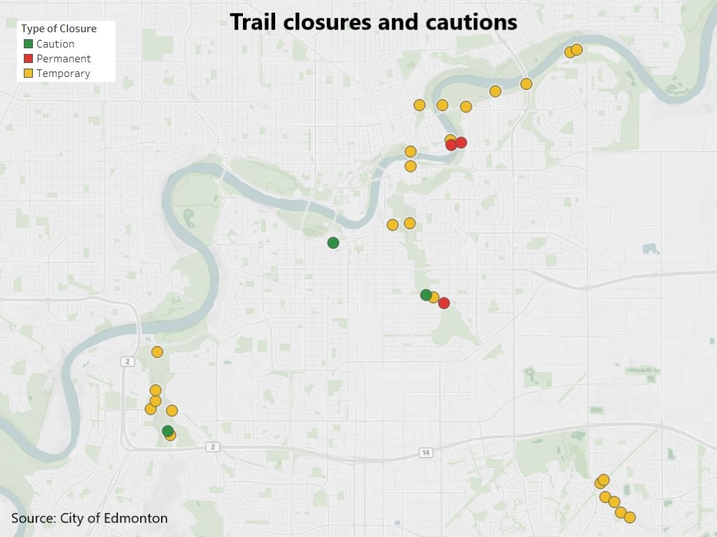 Map showing approximate locations of trail sections that are closed or cautioned against using in the Edmonton river valley.