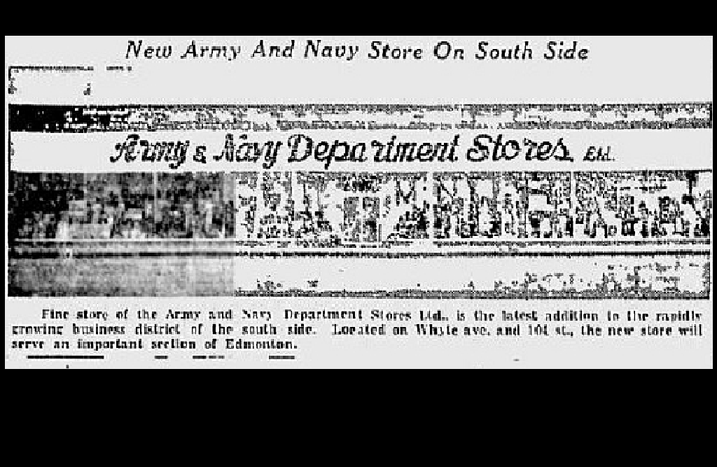 A clipping from July 29, 1950 depicting how the Army and Navy department store was opening on Whyte Avenue.