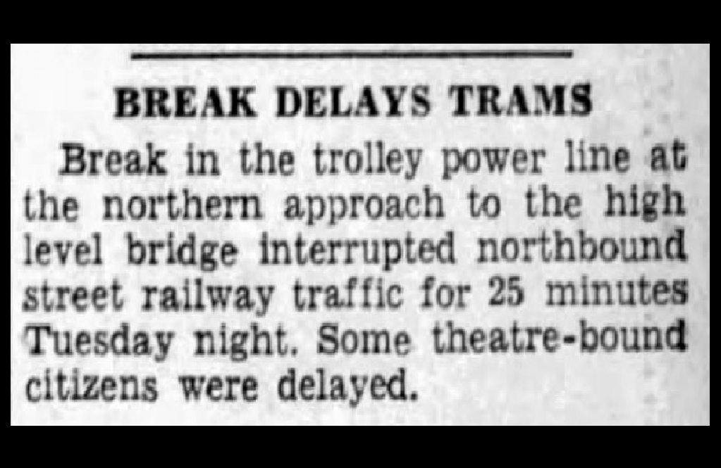 A clipping from 1942 depicting how a broken trolley line kept some theatre-goers stuck on the south side of the river.