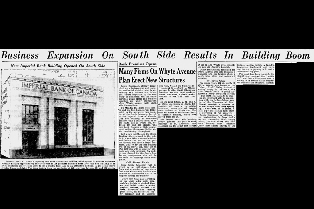 A clipping from June 17, 1928 depicting how Whyte Avenue was undergoing a boom in business.