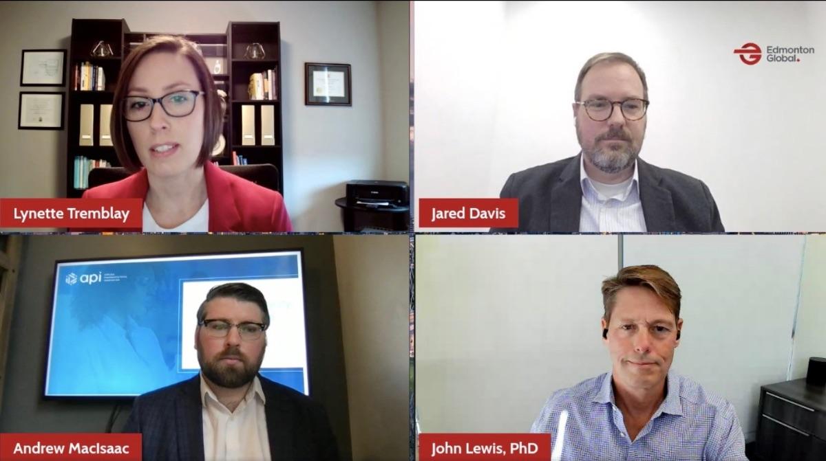 Lynette Tremblay of Edmonton Global, Jared Davis of Providence Therapeutics, Dr. John Lewis of Entos Pharmaceuticals, and Andrew MacIsaac of API