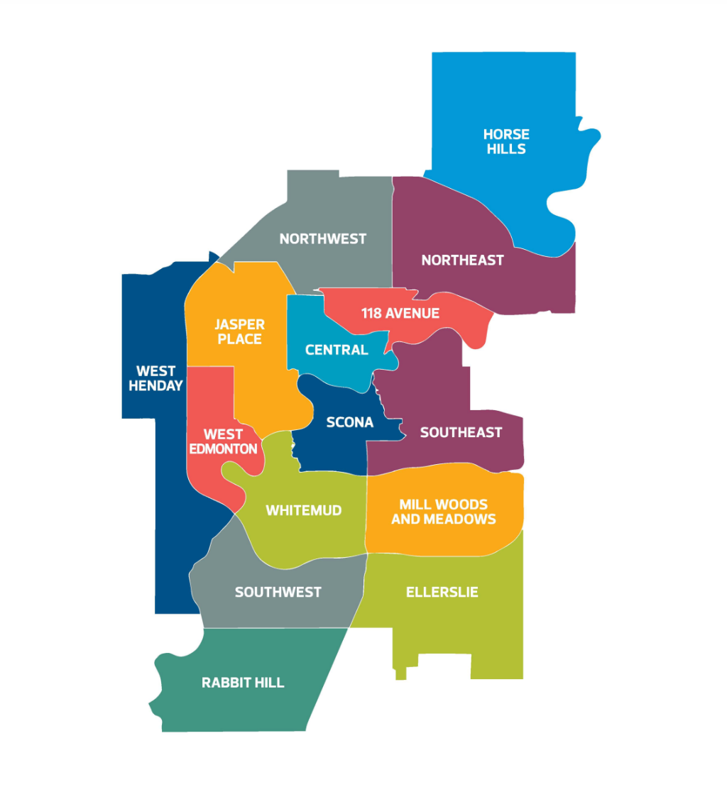 A map of Edmonton's 15 districts, as laid out in the City Plan