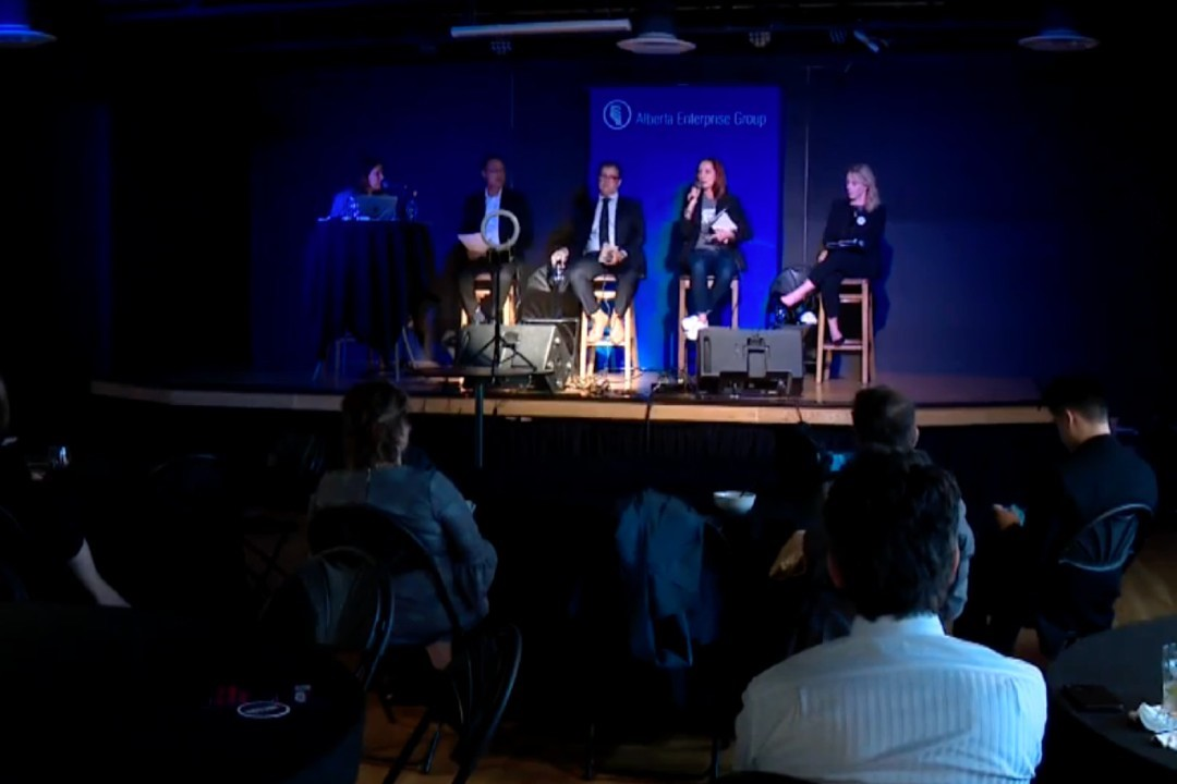 A photo from the Alberta Enterprise Group candidate forum.