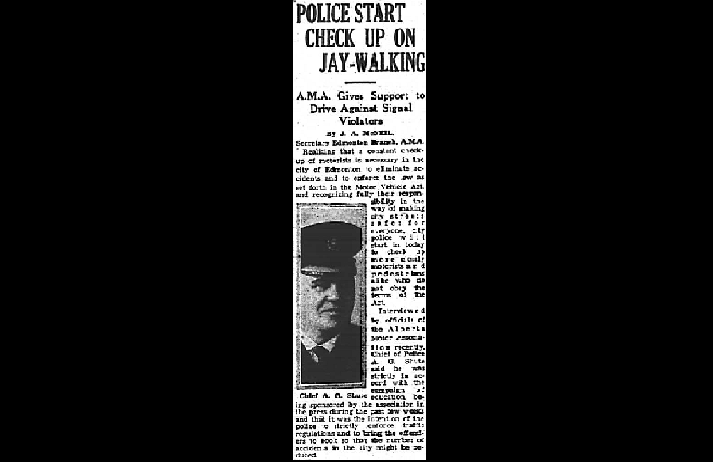 A clipping from August 12, 1933 depicting how Edmonton police were cracking down on jaywalkers in the city.